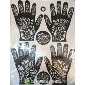 Tatouage henna 12 feuilles